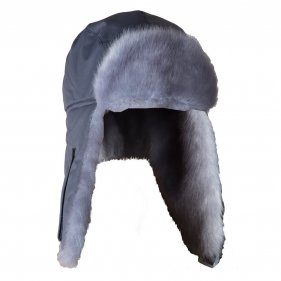 Изображение Шапка ушанка зимняя Голубая Норка ткань Breathable (Серый)
